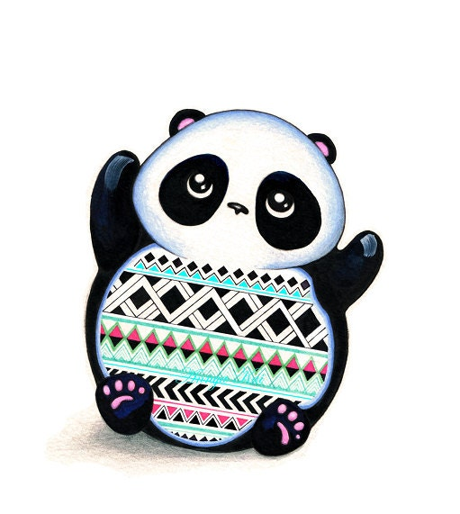 PANDA Colorful Print - NEW Illustration Art by Annya Kai - Cute Panda Bear - Black White Mint Pink