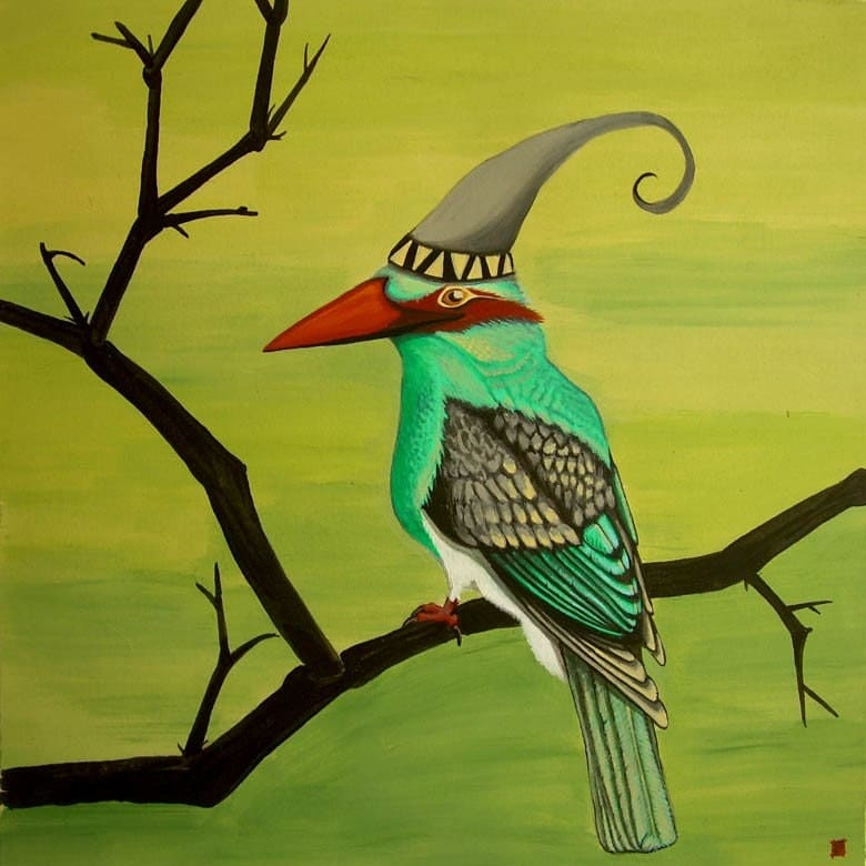 Original Painting surreal Kingfisher 9x9 inches unframed free shipping