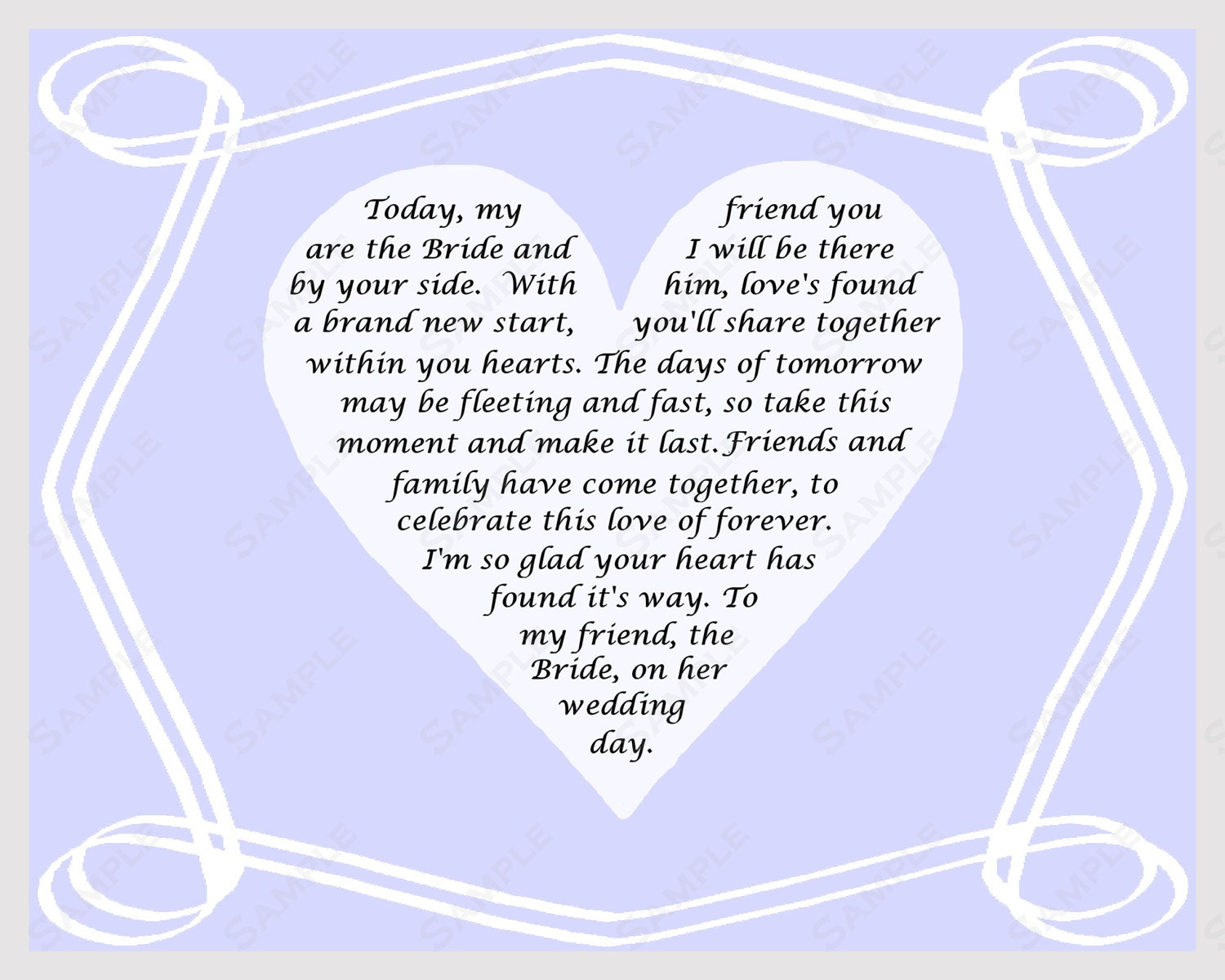 Wedding Day Gift Poem : Gift for Bride on Wedding Day Poem from Friend INSTANT DOWNLOAD - On ...