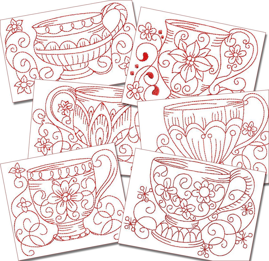 Redwork teacups machine embroidery patterns by