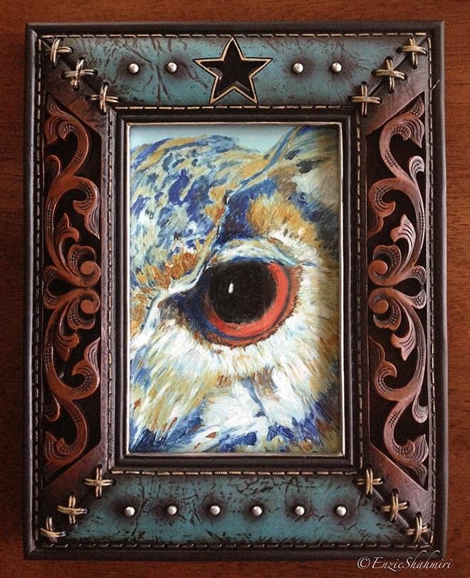 Owl Gaze Framed Oil Painting - PetPortraitsbyNC