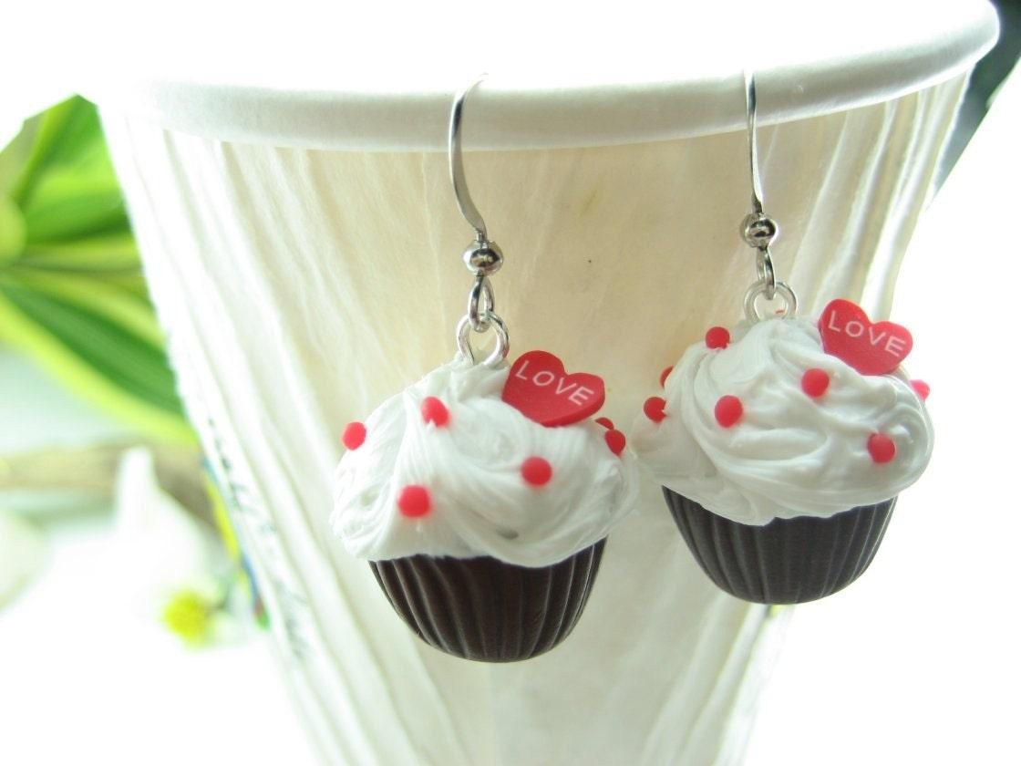 Chocolate Love Cupcake Earrings