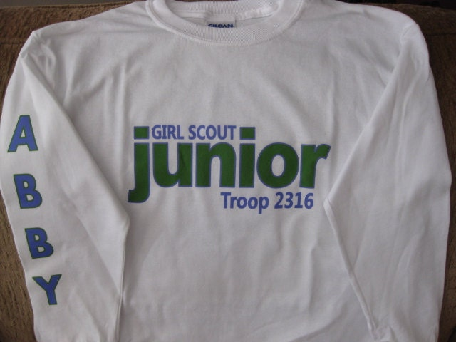Personalized girl scout junior long sleeve by thewhimsydaisy for Girl scout troop shirts