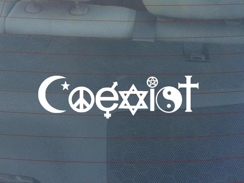 Coexist Religion Bumper Sticker Window Decal By Ragepaints
