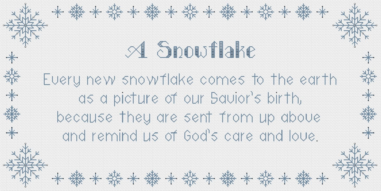 Snowflake gift poem snowflake cross stitch pattern pdf instant