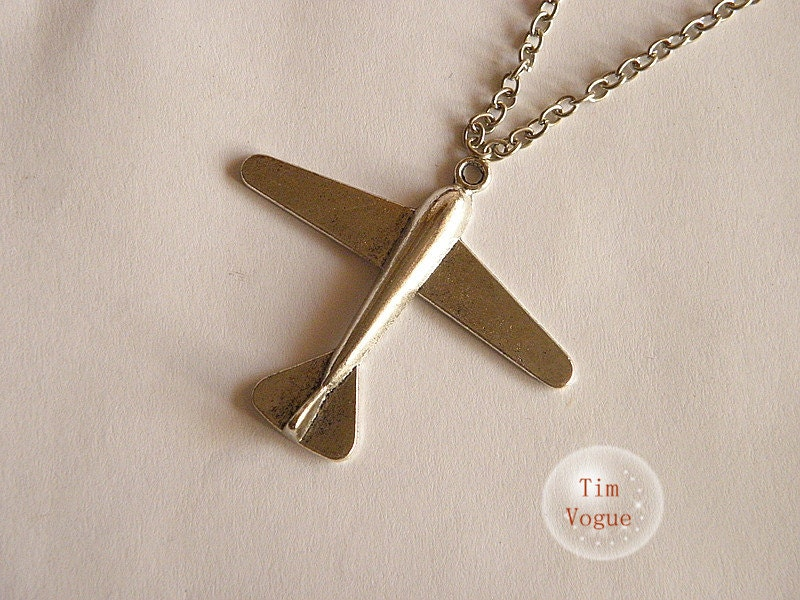 vintage silver airplane necklace - TimVogue