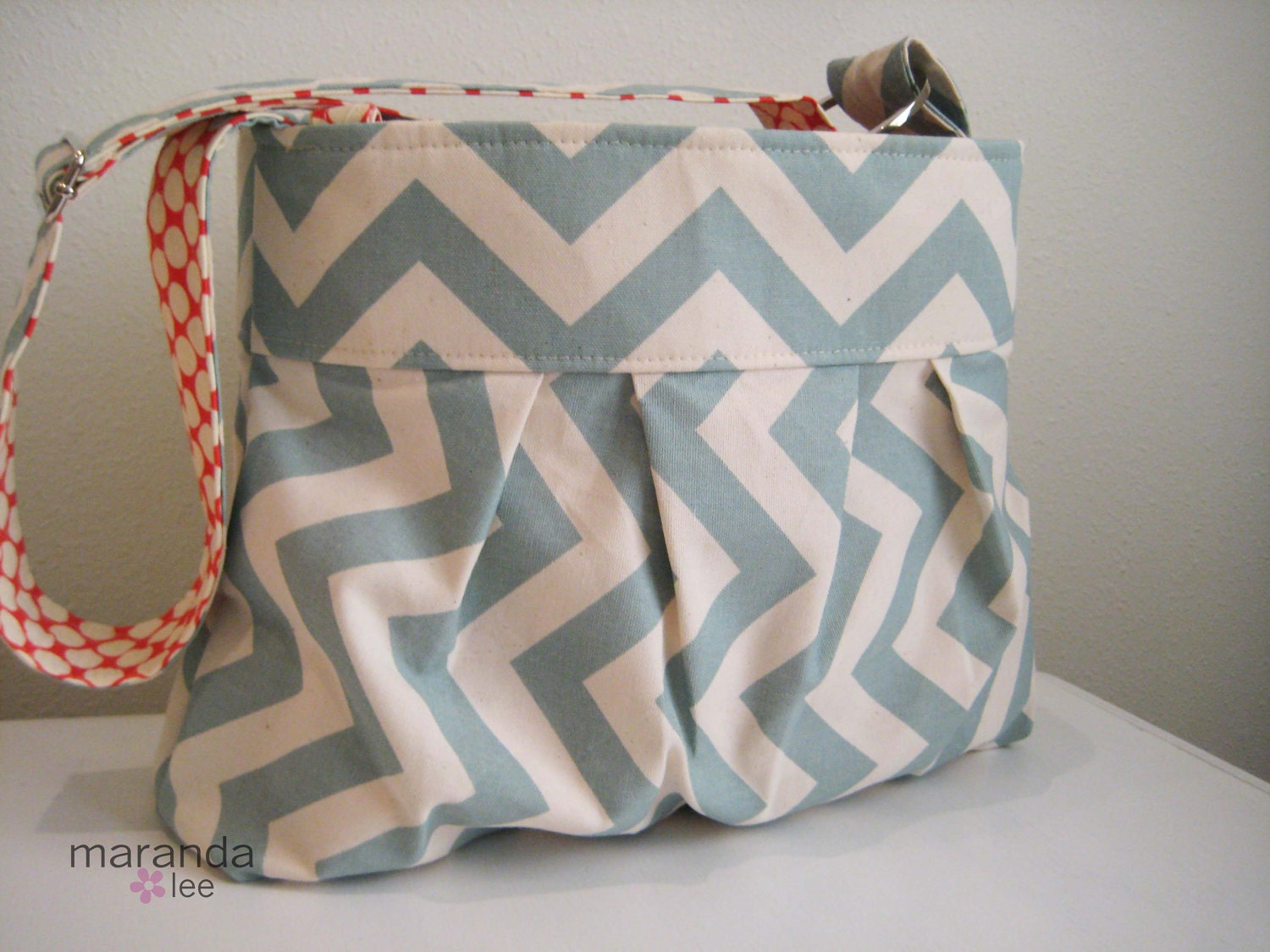 Simply Emma in Steel Blue Zig Zag Chevron Medium Messenger