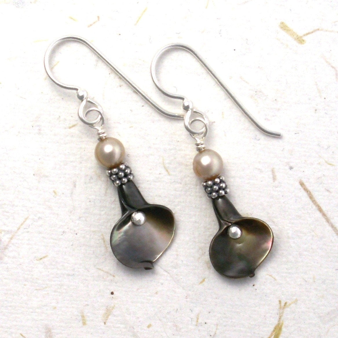 jewelry earrings calla lily sterling silver carved shell brown