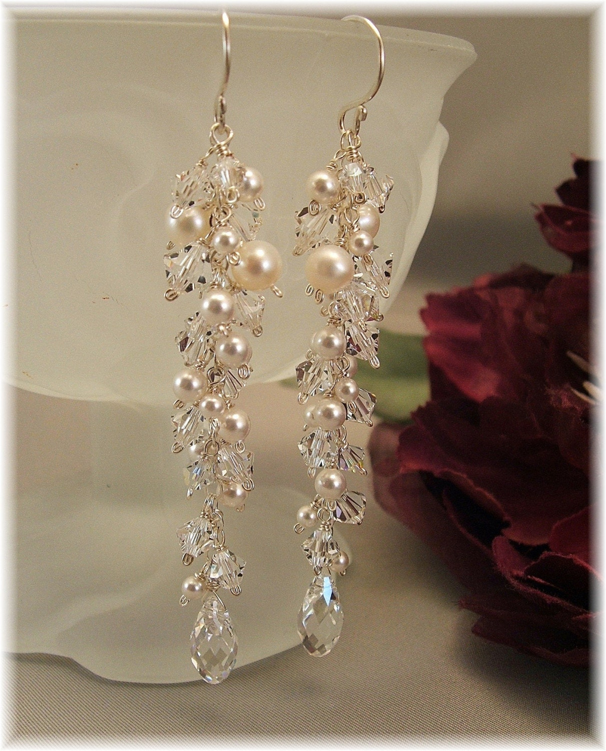 WEDDING DAY EARRINGS   ICICLE  PEARL  EARRINGS   by Handwired from etsy.com