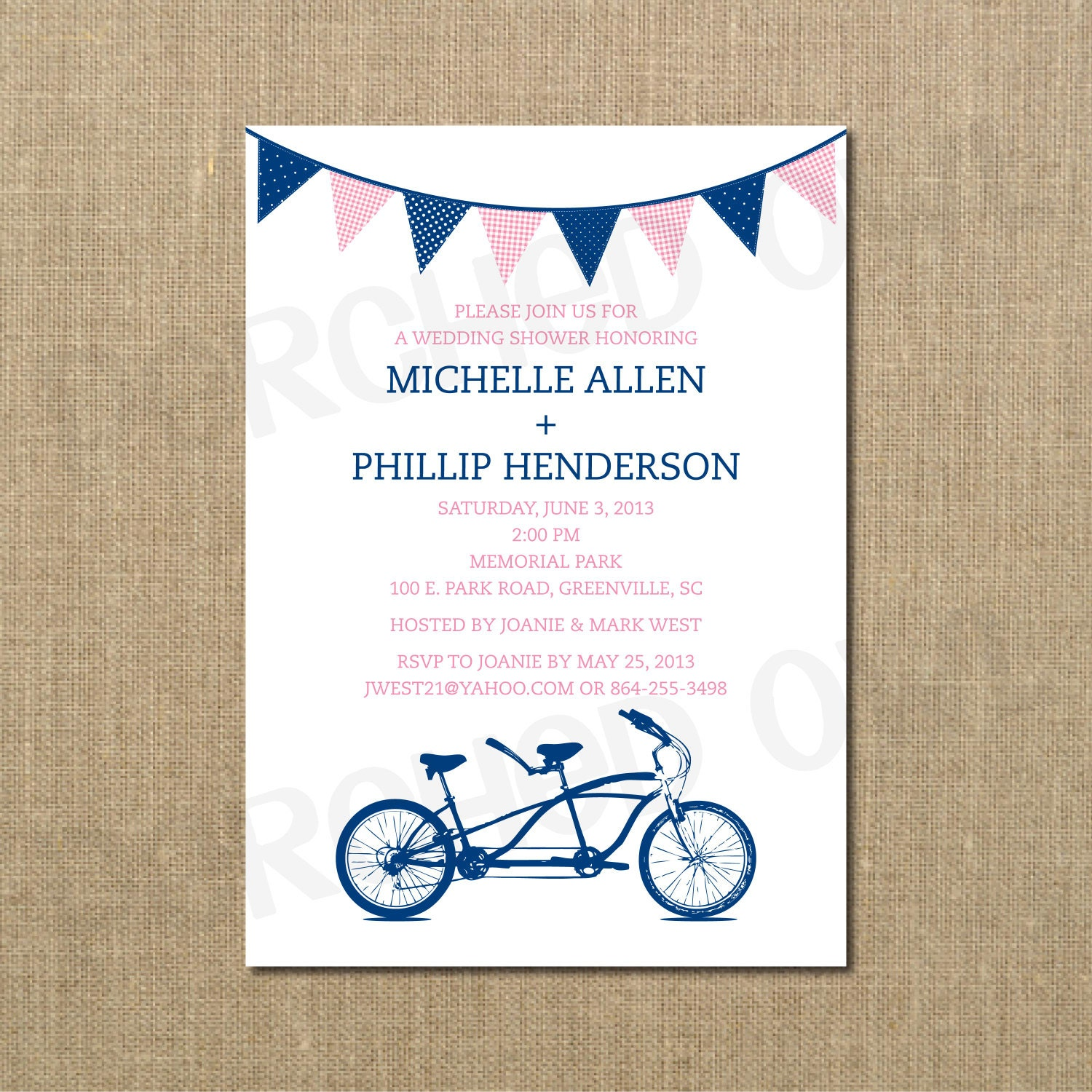 Tandem Bicycle Couples Wedding Shower Invitation