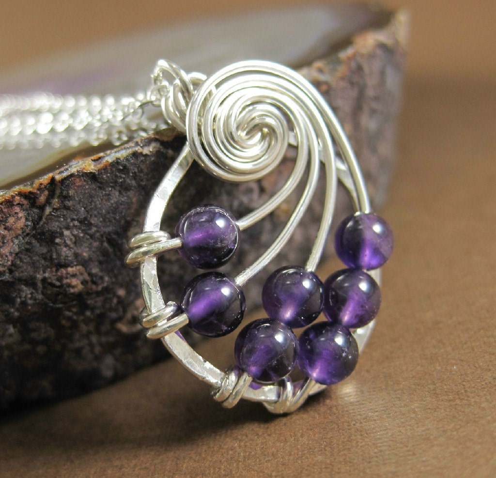 Amethyst Fibonacci Nautilus Necklace Sterling Silver Wire Wrapped Jewelry - holmescraft