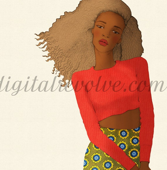 Fashion illustration - Natural Beauty with Cropped Sweater & Tribal Printed Skirt