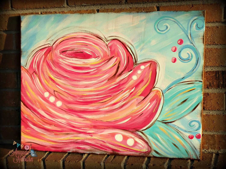 My Rosie, 18x24 Original Acrylic Rose Canvas, Pink Rose - AmandaHilburnART