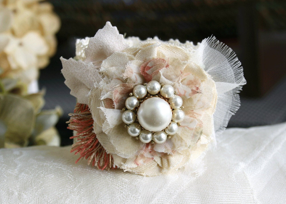 Floral Cuff Bracelet Wrist Corsage in Sage Green, Ivory White and Blush