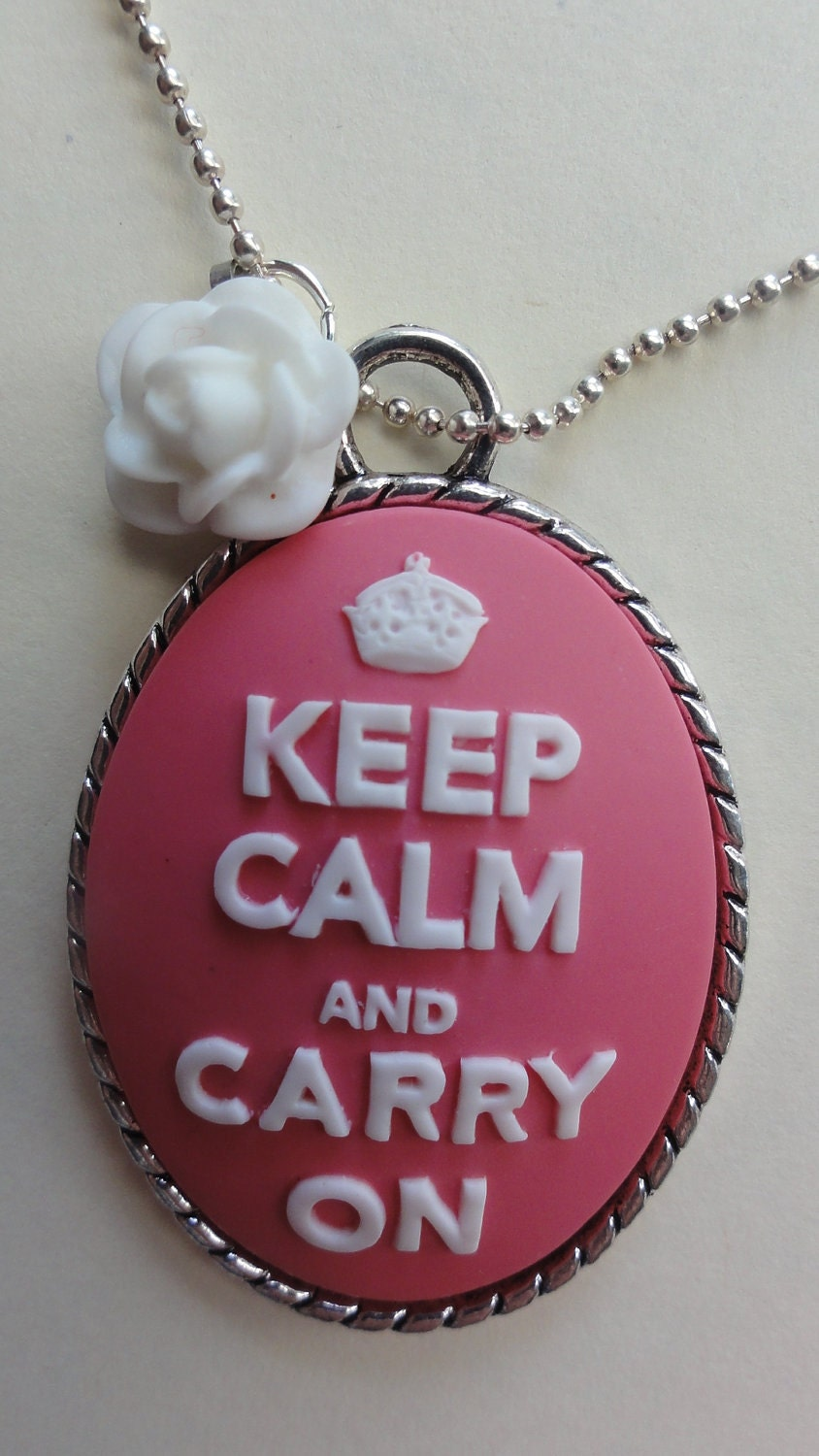 Keep calm and carry on necklace with white rose cabochon