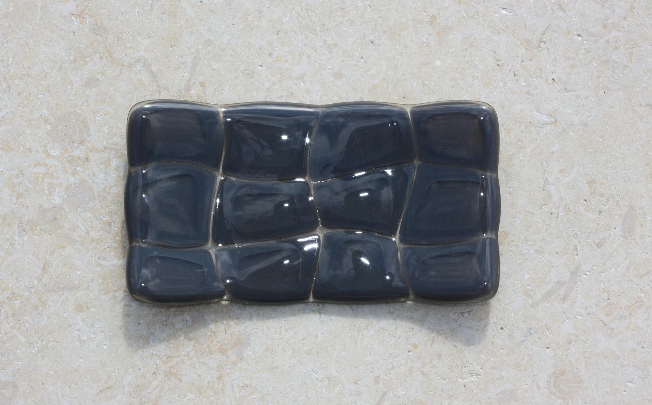 Grey turtle patterned fused glass soap dish handmade glass soapdish for kitchen or bathroom decor