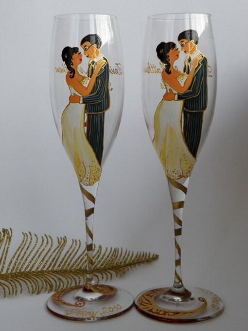 Hand painted personalized glass wedding flutes Wedding portrait - Wedding valse gold