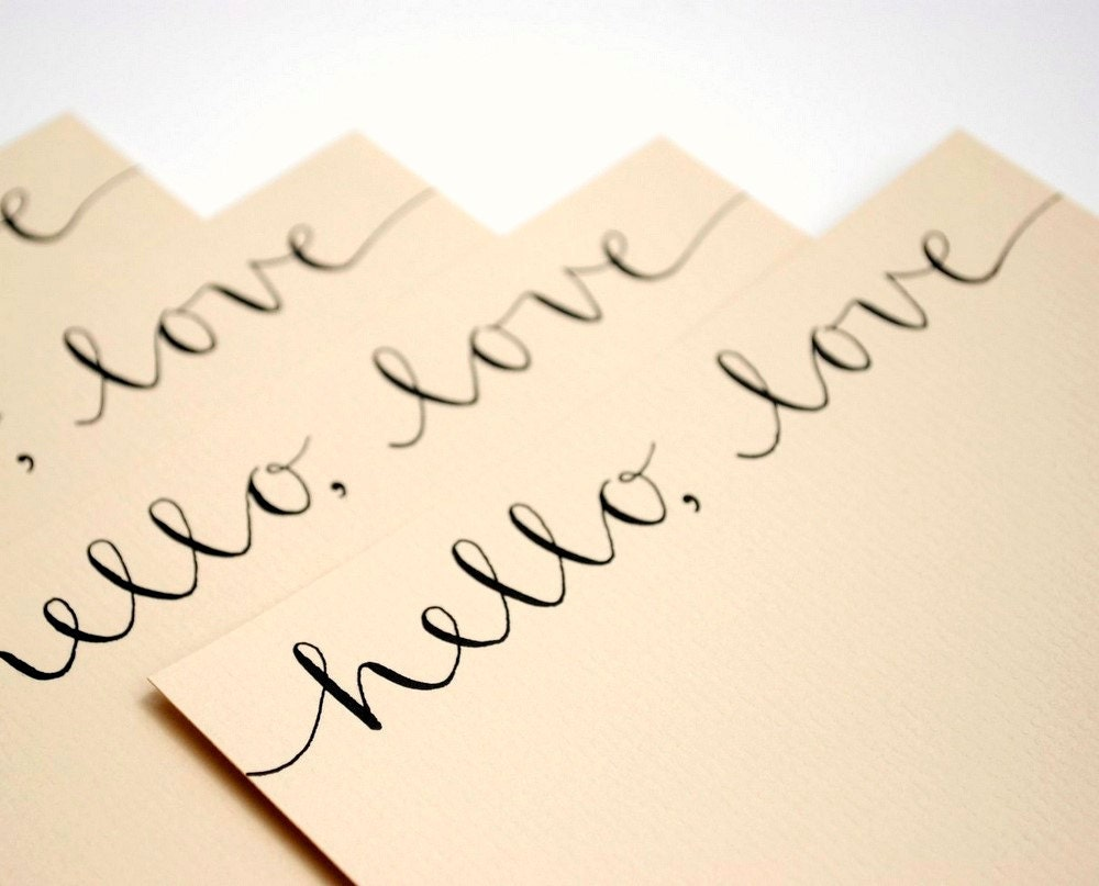 Hello Love Flat Notecards in Wheat - Set of 4