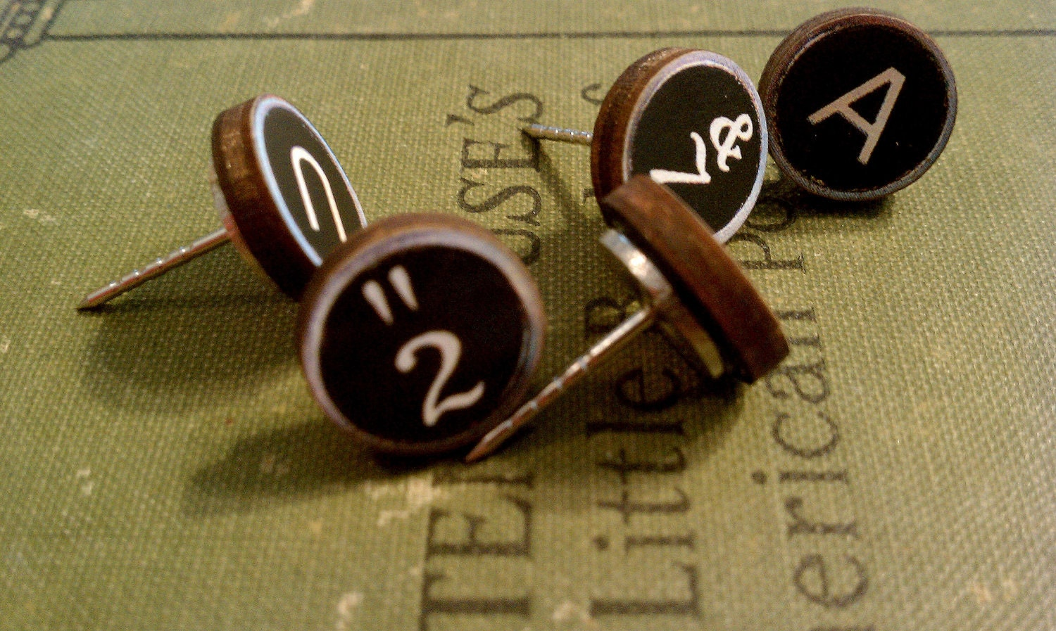Vintage Style Typewriter Key Push Pins Magnets - Qty 5 - Old School Retro Industrial Office College