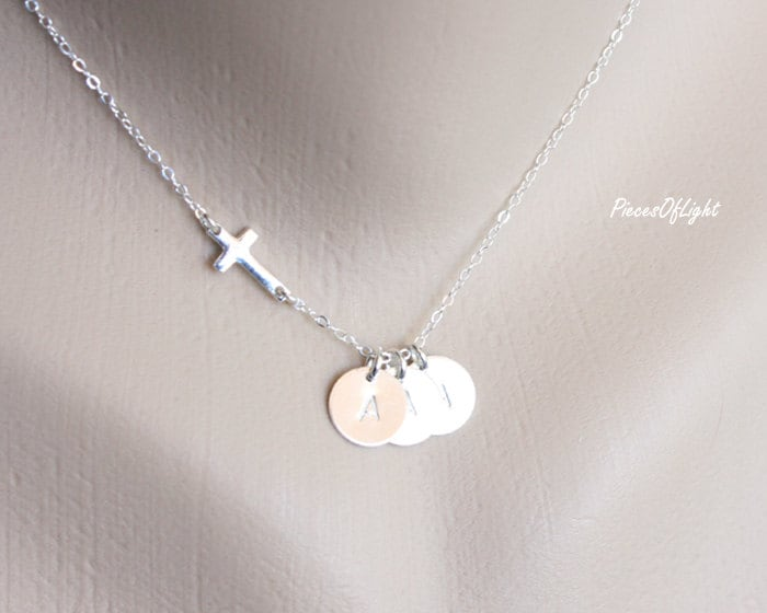 horizontal cross necklace and three initial disc by
