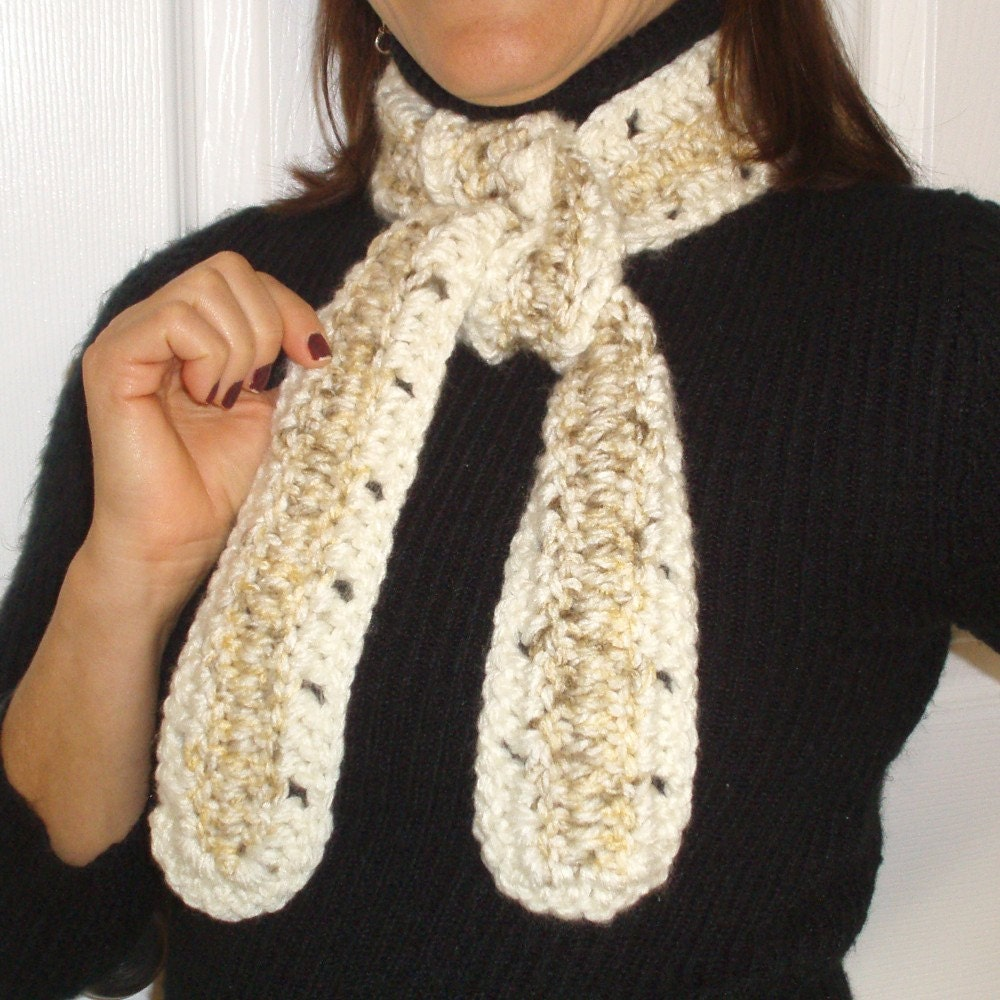 Mixed Beige and Ivory Crocheted Scarf