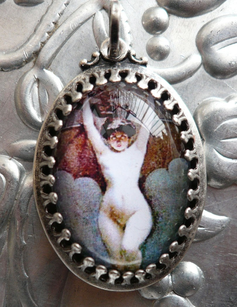 Victorian Art Nouveau Sexy Bat Girl Art Pendant Necklace w Chain..no shipping charge