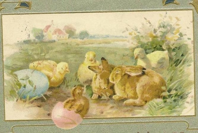 easter bunnies and chicks. 1910 Easter Bunnies and Chicks with Silver Trim - so cute - vintage postcard TREASURY ITEM. From TheOldBarnDoor