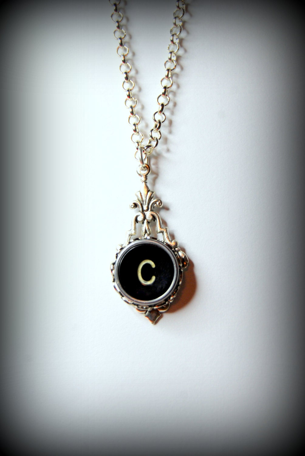 typewriter key necklace handmade personalized by