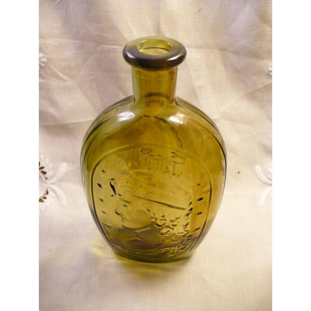 Olive Green Lady Liberty & Eagle Vintage Bottle