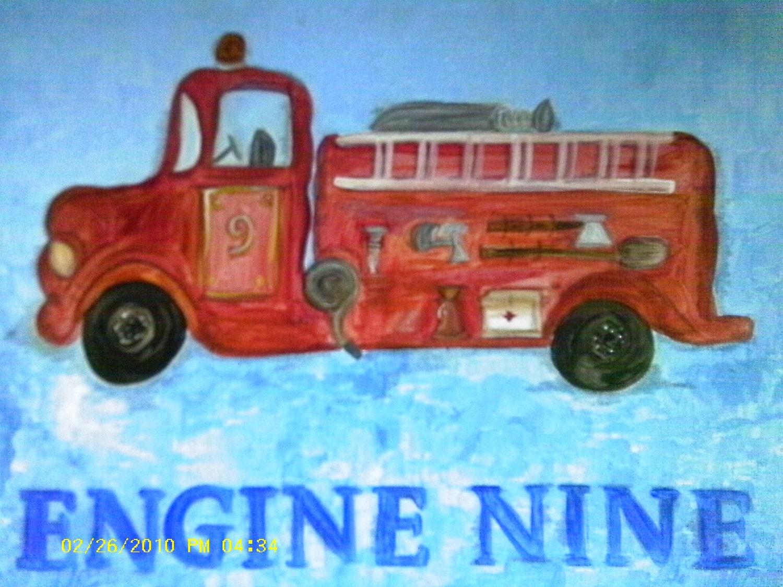 Engine Number Nine acrylic painting 20x16