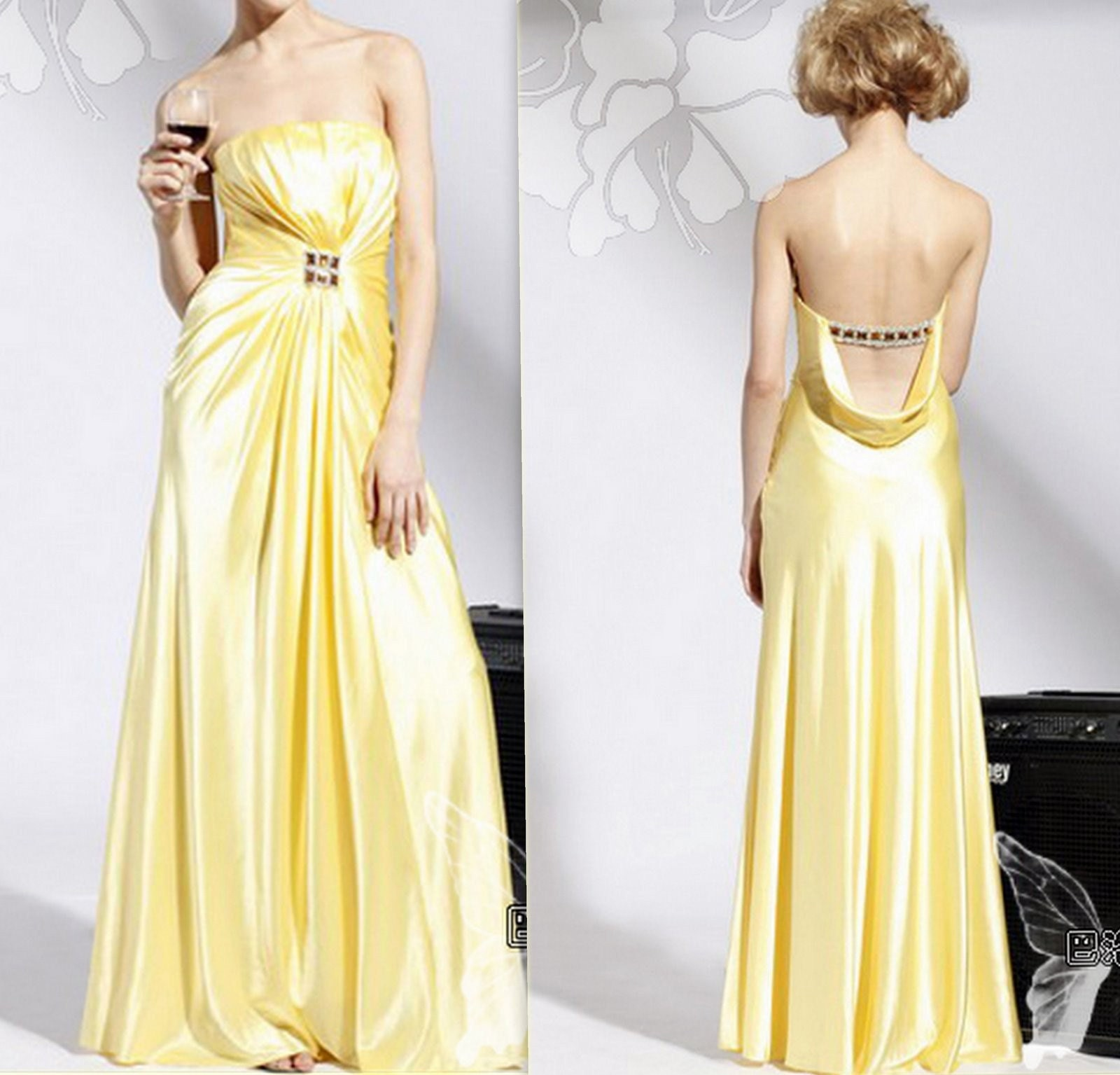 2010 Bridesmaid dress---long010---elegant and classic---Yellow dress---party dress or date dress