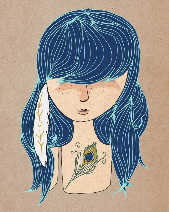 Feathers - 5 x 7 Illustration Print