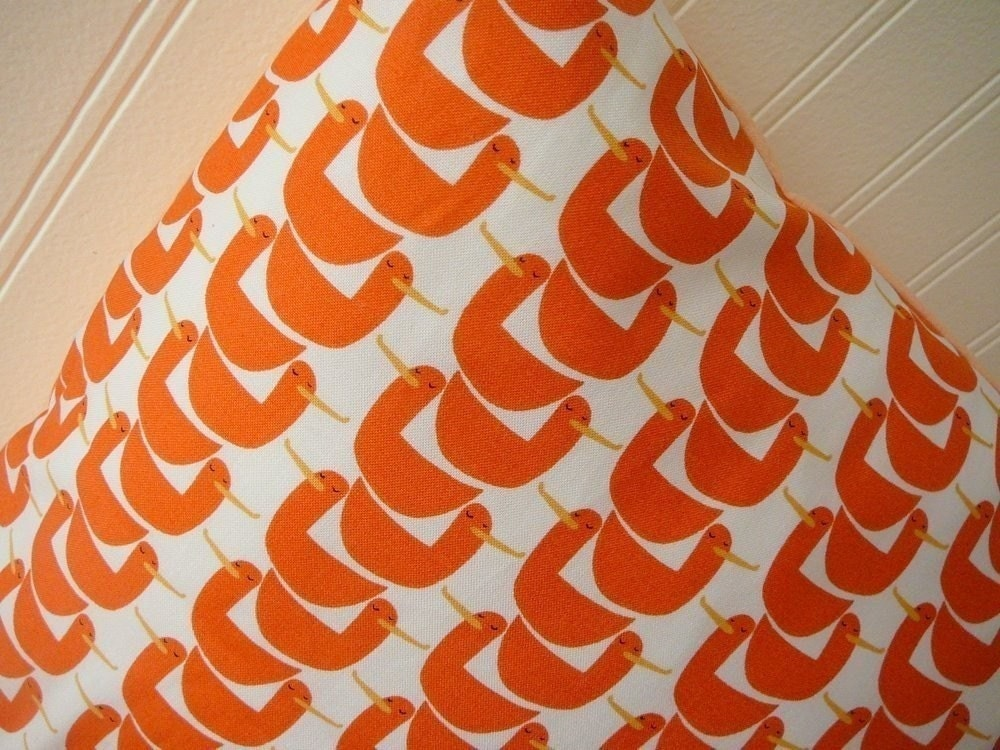 Gaggle Of Geese - Orange and White - Pillow Cover