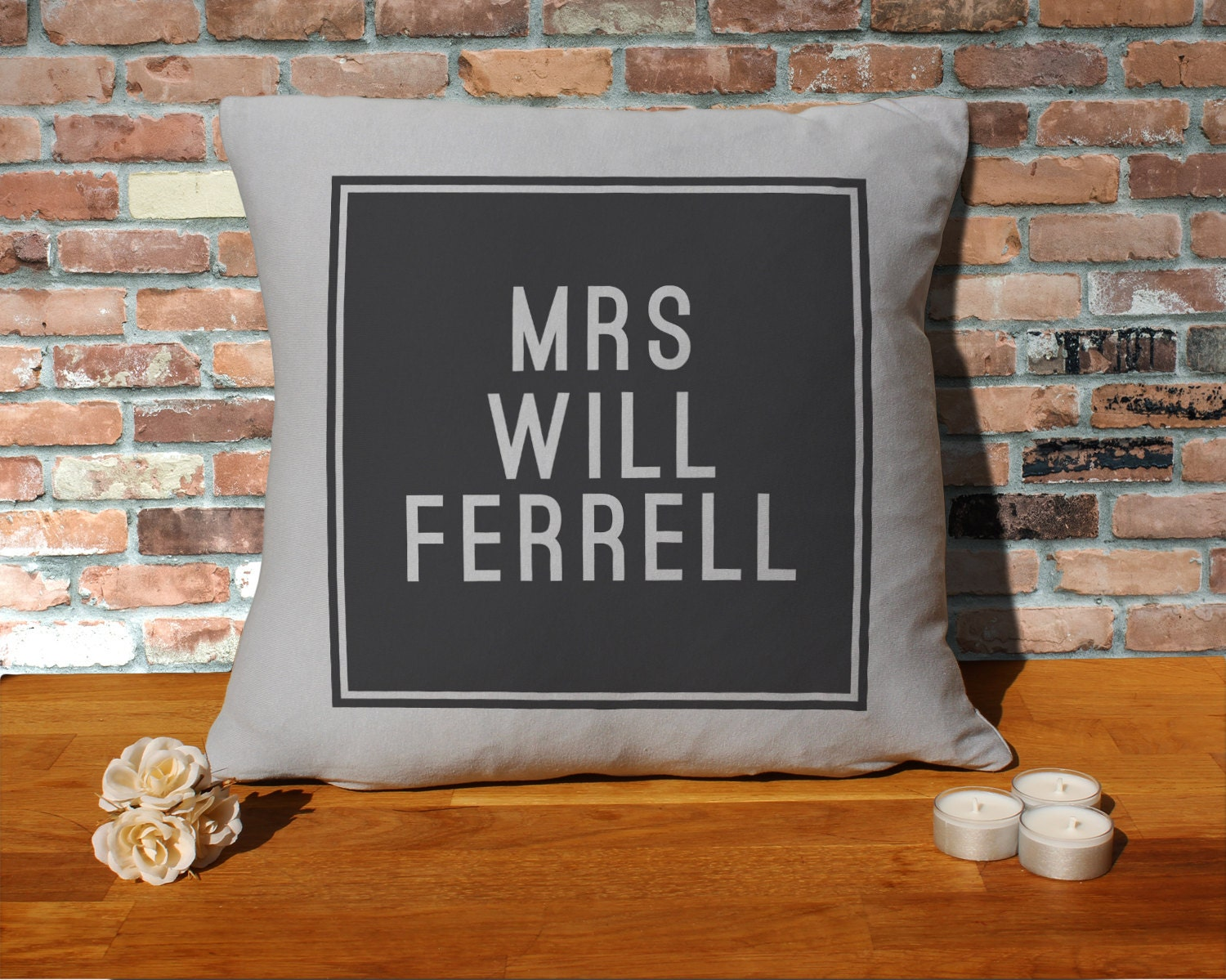 Will Ferrell Cushion Pillow  Silver Grey  100 cotton  16x16 inches