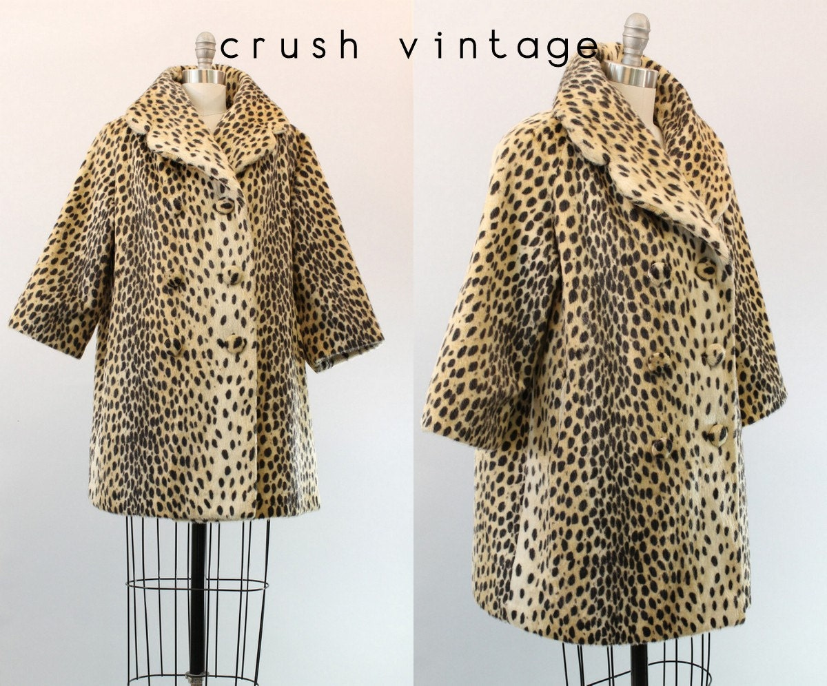 50s Bullocks Del Amo Coat S M / 1950s Leopard Print Jacket / The Tina Coat