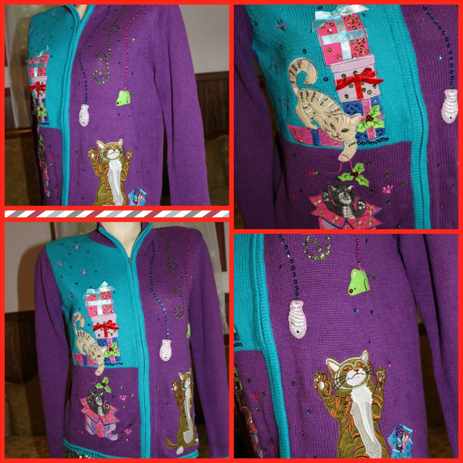 The MOST Ugly Christmas Sweater ever! Cat purple blue sequin metallic