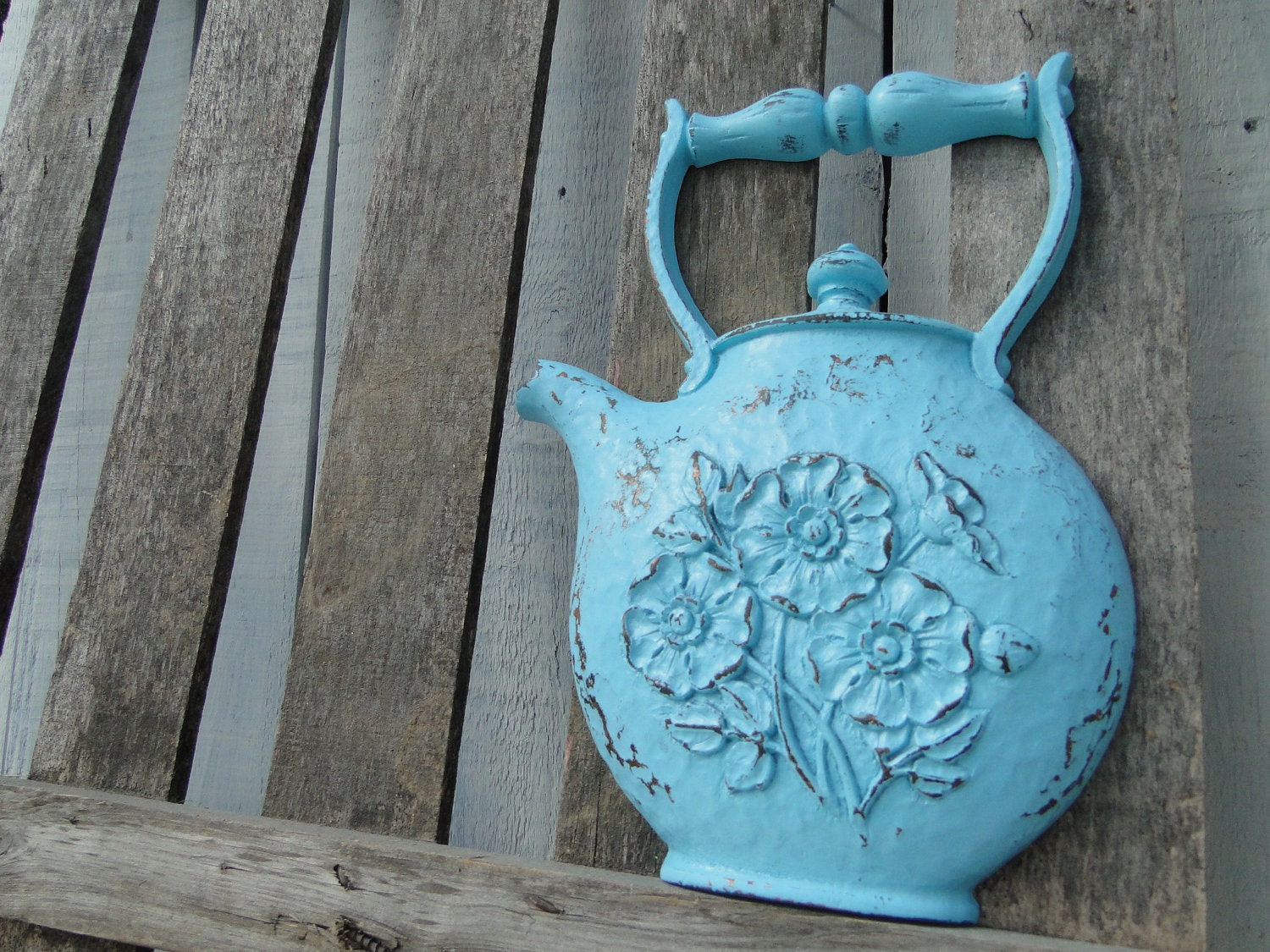 Updated kitchen wall decor vintage resin teapot by trwpainted for Resin wall art