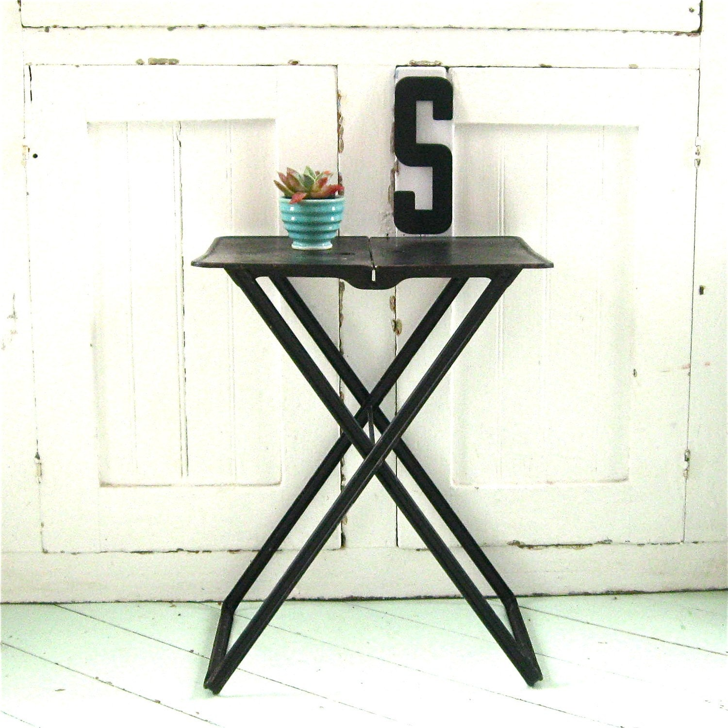 Industrial Black Folding Table