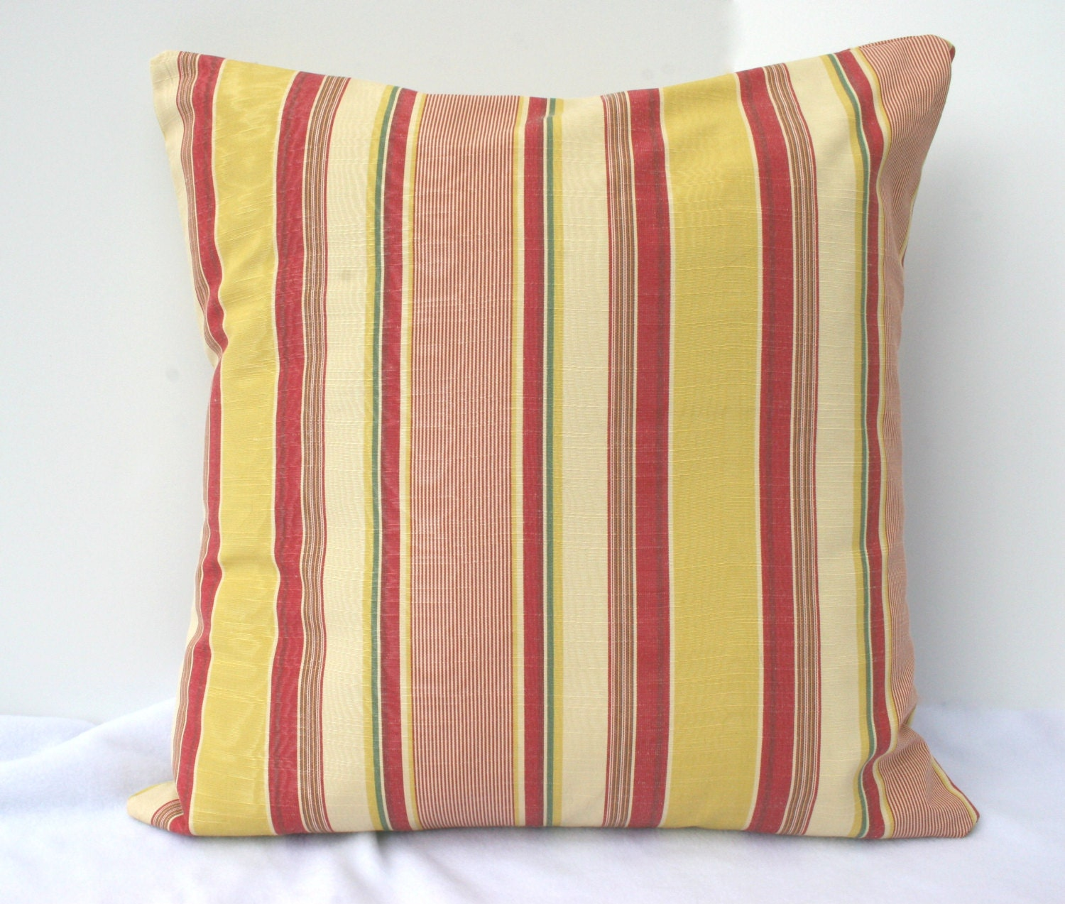Items similar to Yellow and Red Striped Decorative Pillow Cover on Etsy