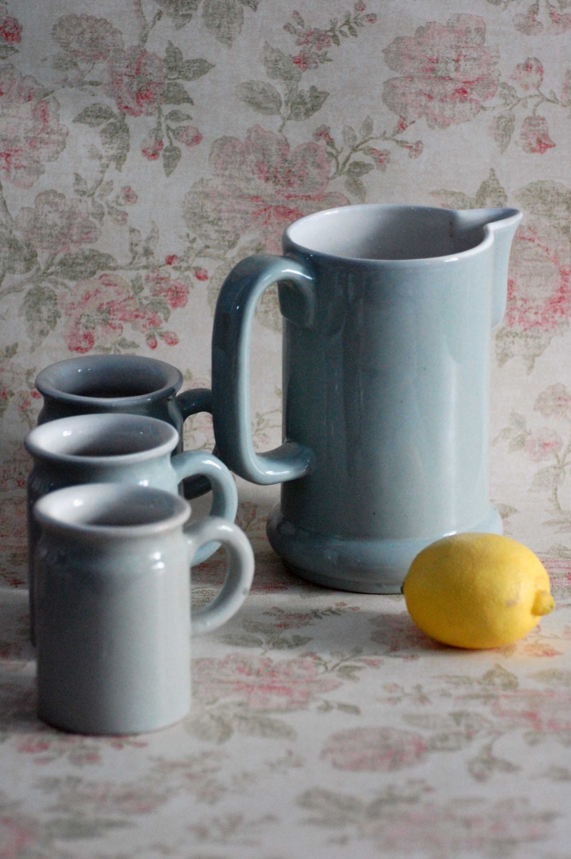 Vintage stoneware pitcher and mugs set - TallinnVintage