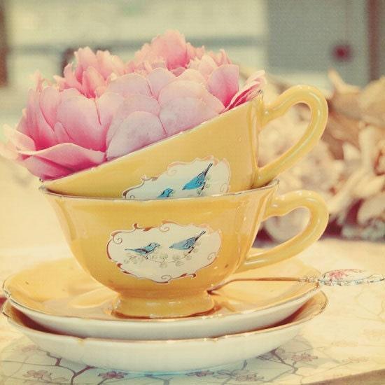 потертый шик фотографии - Lovely Day 9x9 фотографии - желтые чашки чая розовый цветок очаровательный декор кухня - подарок для нее