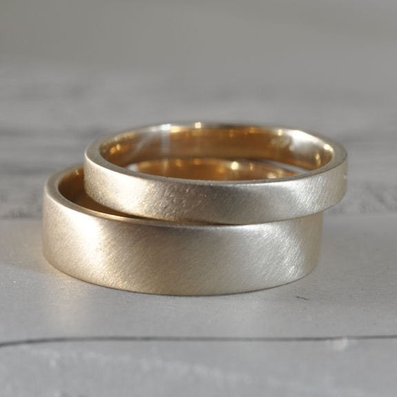 5mm and 3mm solid gold ring set, 14k yellow gold