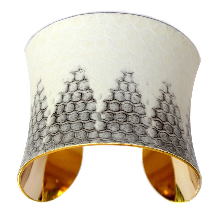 Snakeskin Cuff Bracelet - Gold Lined White Honeycomb Cathedral Cut by UNEARTHED