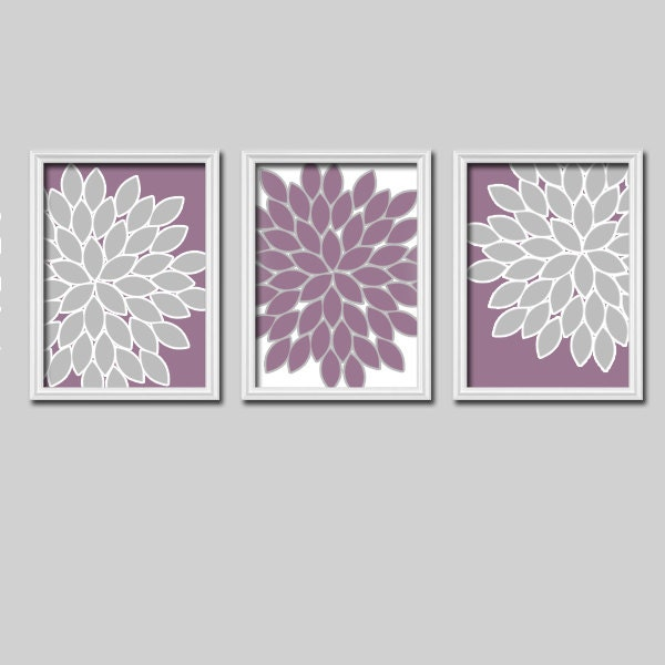 Lavender gray wall art bedroom wall art canvas or by trmdesign for Purple wall art