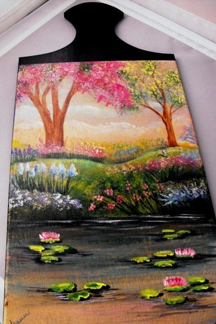 Spring Scene Cutting Board Handpainted OFGSC Spring Celebration
