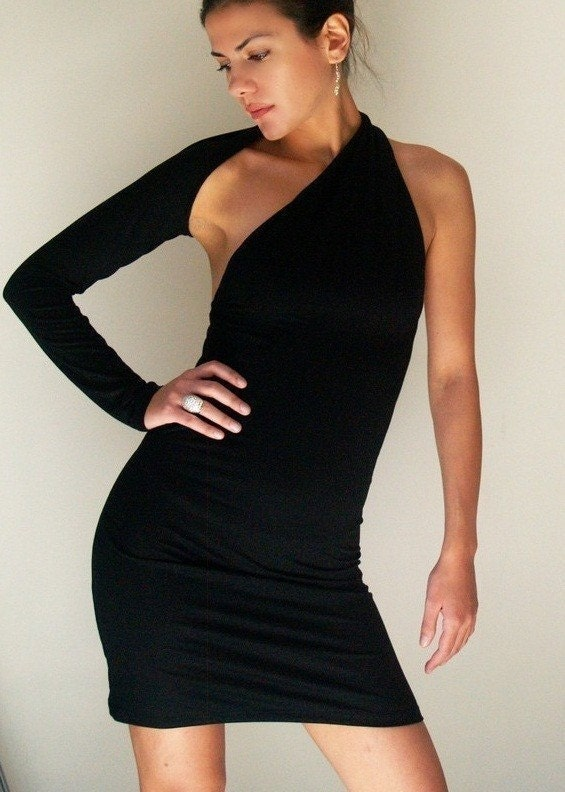 One Shoulder Little Black Dress  Donation to by marcellamoda from etsy.com
