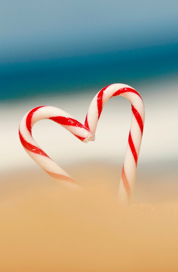 "CARD ""Candy Cane Love"" Original 6"" x 4"" Photograph on Heavy Card Stock. Christmas, Candy Cane, Red, White, Love, Australia, Beach"