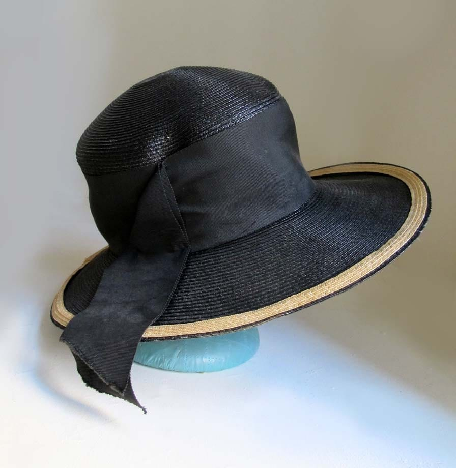 Vintage 1960s High Crown Black Straw Hat