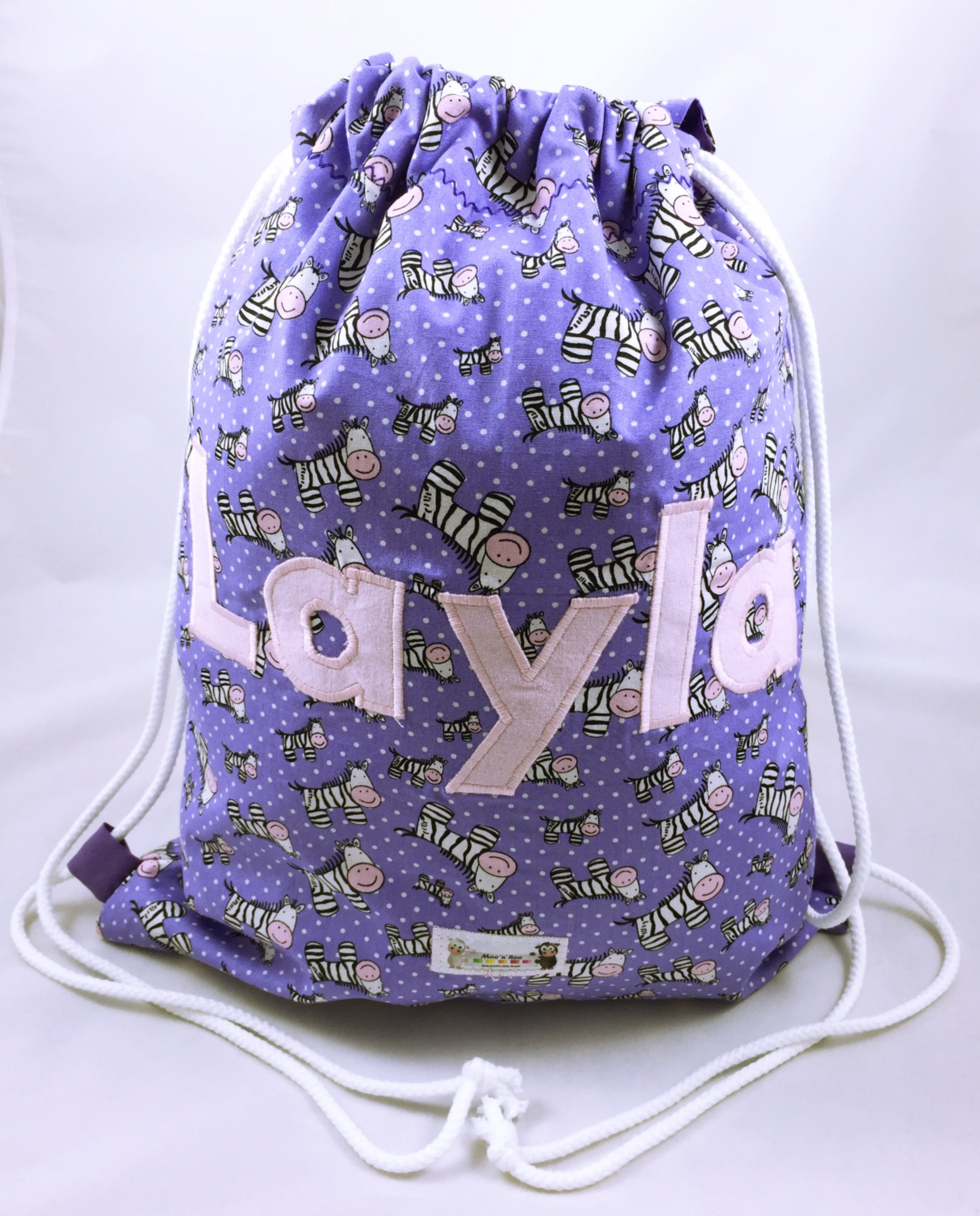 Girls Personalised PE Bag Overnight Bag School bag Drawstring bag Nursery bag Overnight bag Purple Zebras Swim Bag Backpack Bag