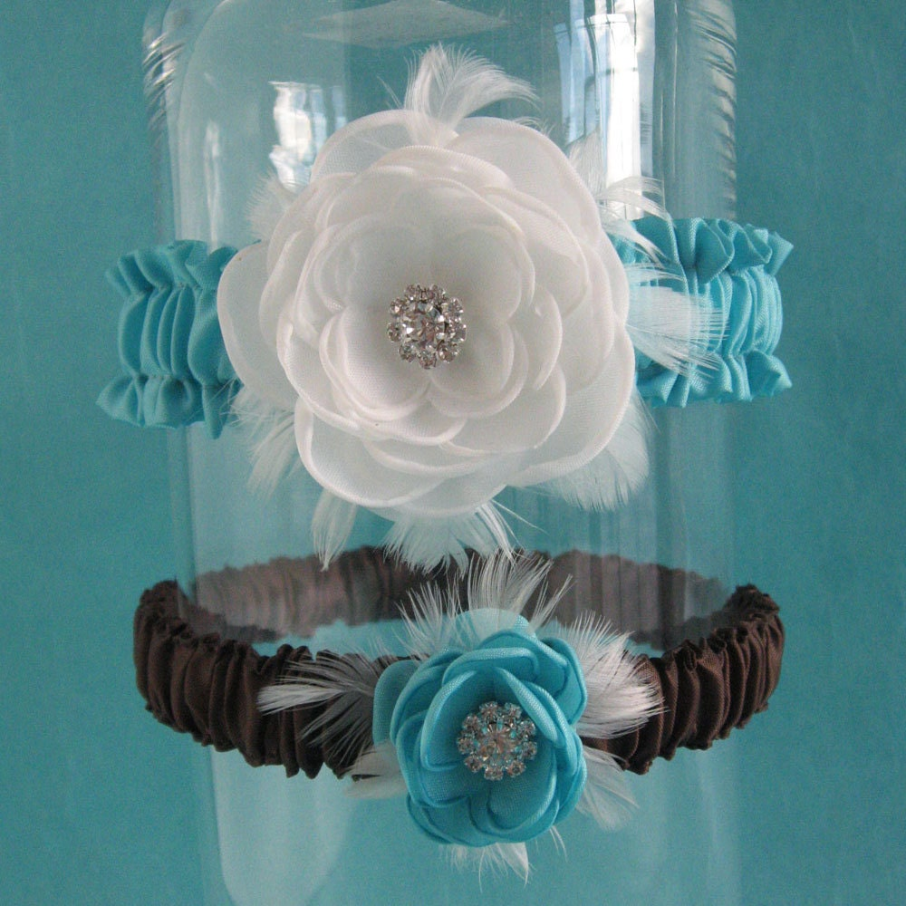 Tiffany Blue, Diamond White and Brown Feather Rose Wedding Garter Set E172 - bridal garter accessory